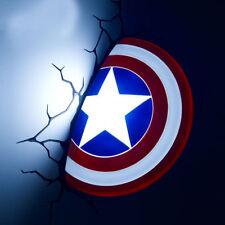 Marvel Avengers Captain America Shield Fx Wall Light Sticker Led Night