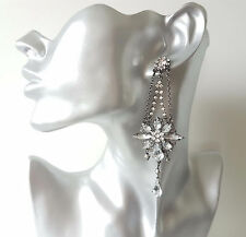 Stunning 10cm long hematite & diamante - crystal drop earrings from River Island