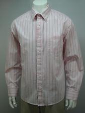 Aeropostale Men's Casual Shirt Sz L Pink Striped 100% Cotton LS