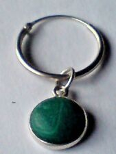 STERLING SILVER & 10mm ROUND MALACHITE PENDANT on a 15mm HOOP EARRING £8.50 nwt