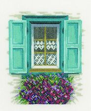 LANARTE  0167123  WINDOW WITH BLUE  SHUTTERS  COUNTED  CROSS STITCH  KIT