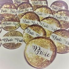 Bride Tribe Sparkly Pins, Bachelorette Party, Hen Night Badges, Bride Button 6PK