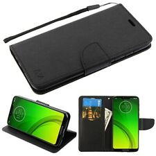 Motorola Moto G7 SUPRA Leather Flip Wallet Case Cover Folio Pouch Stand BLACK