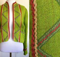 Collector's Vintage RALPH LAUREN Linen Embroidered Trim Green BOHO Jacket, S/M