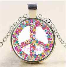 Floral Peace Sign Photo Cabochon Glass Tibet Silver Chain Pendant Necklace