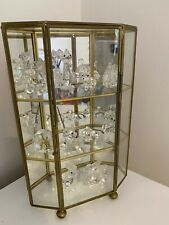Mirrored Brass Glass Display Curio Cabinet Crystal Ornaments - Octagon