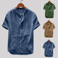 Men's Baggy Cotton Linen Solid Casual Short Sleeve Retro T Shirts Tops Blouse