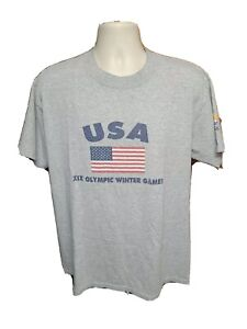 2002 Salt Lake XIX Olympic Winter Games USA Adult Large Gray TShirt