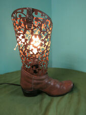 New Cowboy Western Metal Boot Table Lamp Western Cabin Accent Light