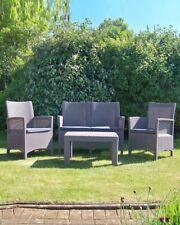 Grey Recycled Plastic Rattan Effect 4 Piece Garden Sofa Set Chairs Table Cush...