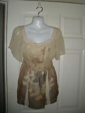 #171 Misses L Twenty one 21 Taupe Olive lightweight peasant boho Gypsy New NWT