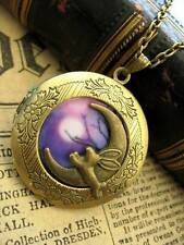 Leaping Hare & Moon LOCKET Necklace Pendant Antique Bronze Steampunk Wicca Fae