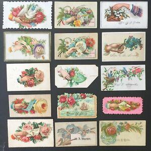 1880s VICTORIAN LADIES & GENTLEMEN FANCY CALLING CARDS - 15 DIFFERENT CARDS