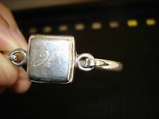 sterling silver engraved square bangle