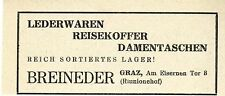 Breineder Graz LEDERWAREN REISEKOFFER DAMENTASCHEN Historische Reklame von 1949