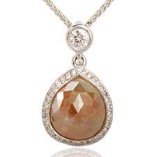 Pear Shaped Rose Cut Natural Fancy Green Diamond Pendant w/ Chain 14K WG