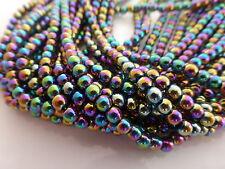 1 Strand X 4mm (100 Beads) Rainbow Coloured Non-magnetic Hematite Round Beads