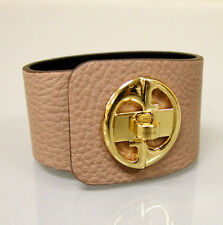 "$550 NEW Authentic GUCCI ""1973"" Leather Bracelet Bangle w/Gold G,18,Beige,253514"