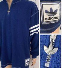 Vintage Adidas Fleece Sweater Pullover Trefoil Firebird Retro 90s Men XL Blue