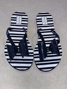 Kate Spade Women's Norma Blue White & Pink Striped Flip Flops Bow Size 9 New
