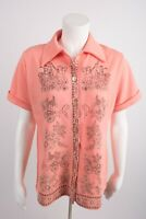 Vintage Lind Clare Inc Womens Blouse Shirt Medium Horse Buggy Carriage Button Up