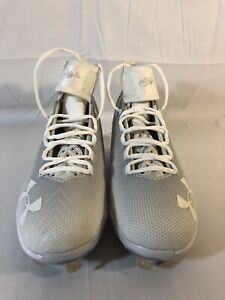 UNDER ARMOUR HARPER 2 MID ST BASEBALL CLEATS WHITEOUT 1297307-100 MENS SIZE 7.5
