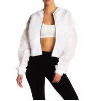 ALO Yoga Puff Sleeve Zip Hoodie Jacket in Legion White medium