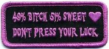 49% B*tch 51% Sweet Ladies Motorcycle Chick Biker MC Funny Vest PATCH PAT-3696