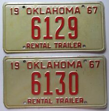 Oklahoma 1967 CONSECUTIVE NUMBER RENTAL TRAILER License Plates NICE QUALITY