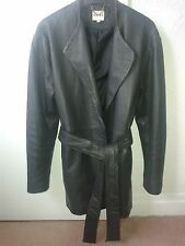womens reiss blue leather coat size xs