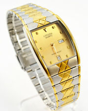 Citizen Quartz Man Day Date Two Tone Stainless Steel Gold Dial Analog Watch 041M