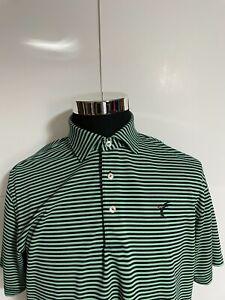 Peter Millar Summer Comfort Green Stripe Stretch Mesh Golf Polo Shirt Medium