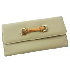 Gucci Wallet Purse Long Wallet Bamboo Beige Beige Woman Authentic Used F938