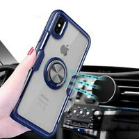 For iPhone XS Max XR X 6s 7 8 Plus Magnetic Ring Clear Shockproof TPU Case Cover