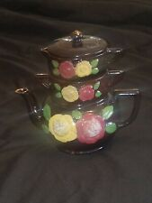 Royal Sealy Redware Stacked Stacking 2 Flower Teapot w/ Creamer and Sugar & Top