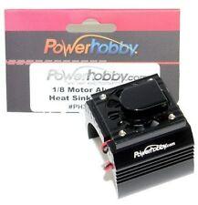 Powerhobby Aluminum Motor Heatsink + Cooling Fan For 1/8 Size Motors Black