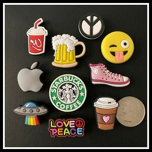 SET 10 Shoe Charms for Croc PEACE SIGN APPLE UFO SHOES EMOJI BEER COFFEE COLA