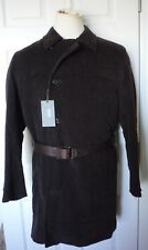 HUGO BOSS Men's Medium Cellan Cotton Leather Belted Coat Jacket Brown $745 NEW