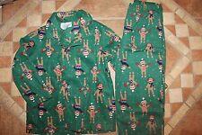 NWT Gymboree Gymmies Size 5-6 Green Fleece Sock Monkey Holiday Pajamas