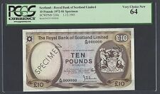 Scotland  10 Pounds 1-12-1981 P338s Specimen  Uncirculated