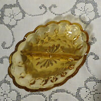 Vintage Amber glass divided serving dish Anchor Hocking relish dish 7 in. long