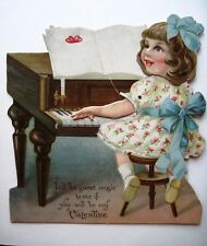 1923 Mechanische Valentin Karte W / Schöne Mädchen Playing ein Piano