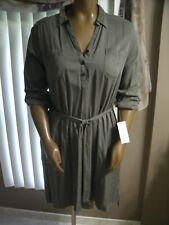 NWT SONOMA Women's Size XL Green Dress / Tunic  Side Slits 100% Rayon