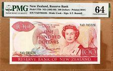 NEW ZEALAND: 100 Dollars Banknote, (PMG64), P-175b, 1985-89