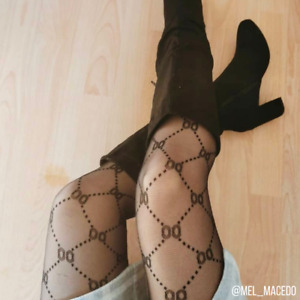 Luxe Volition Gabby Double-O Black Chain Patterned Designer Inspired Tights