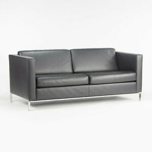 Lord Norman Foster Model 500 Black Leather 2 Seat Settee Sofa for Walter Knoll