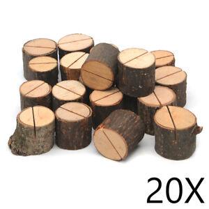 20x Tischkartenhalter Natur Holz Postenhalter Namenskarten Platzkarten Halter