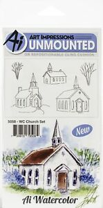 Art Impressions Watercolor Cling Rubber Stamps-Church