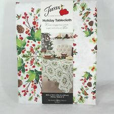 "Fiesta Holiday Oblong Tablecloth 60"" x 102"" Holli Pine Cone Christmas Decor"