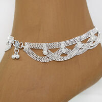 Fußkettchen 1 Stück Bollywood Indien Orient Fußkette Hippie Silber 24cm 30g  K1